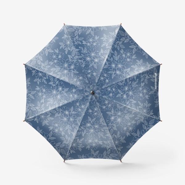 Зонт «Цветущая яблоня на синем»