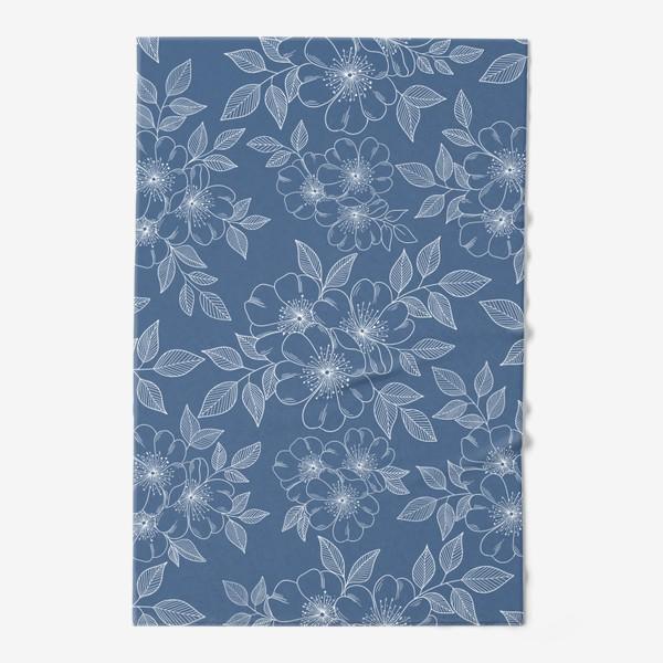 Полотенце «Цветущая яблоня на синем»