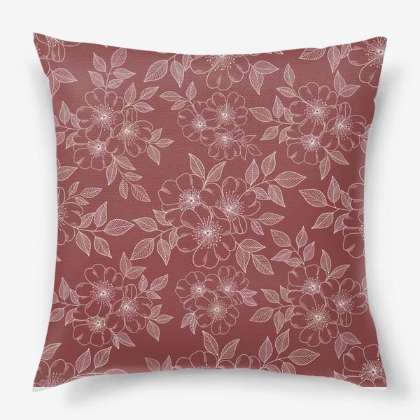 Подушка «Цветущая яблоня на бордовый»