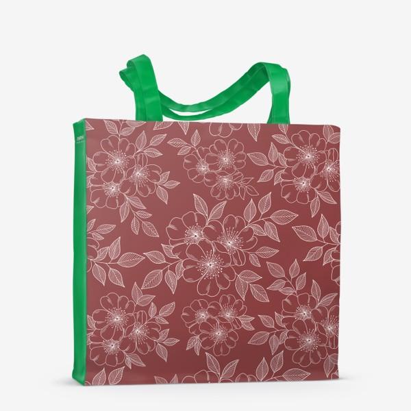 Сумка-шоппер «Цветущая яблоня на бордовый»