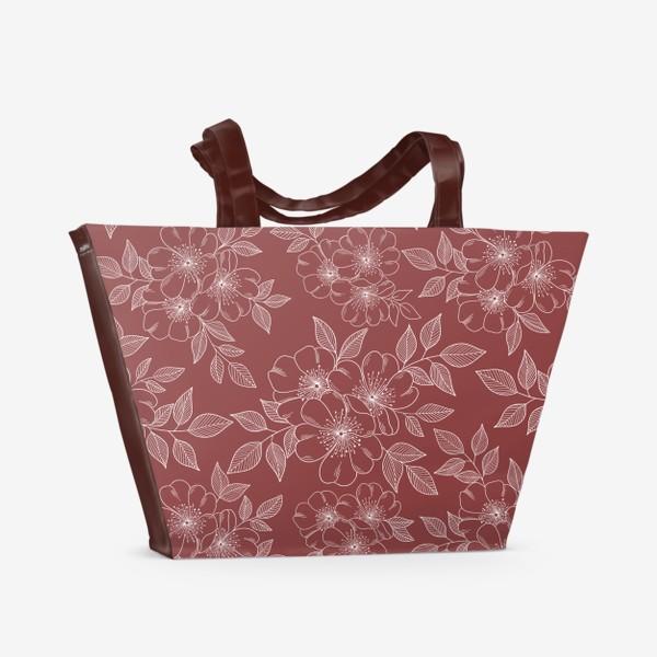 Пляжная сумка «Цветущая яблоня на бордовый»