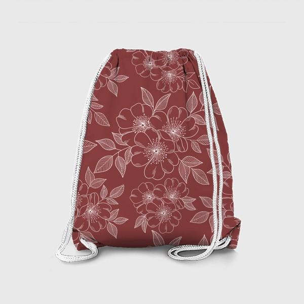 Рюкзак «Цветущая яблоня на бордовый»