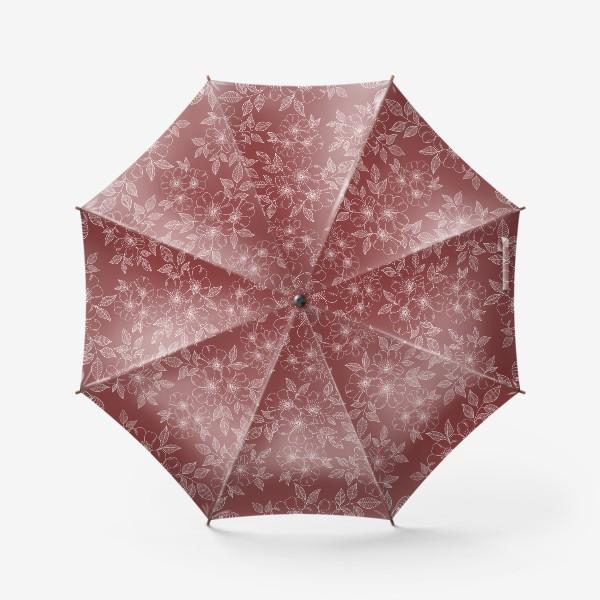 Зонт «Цветущая яблоня на бордовый»