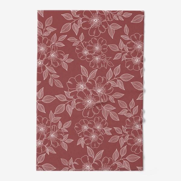 Полотенце «Цветущая яблоня на бордовый»