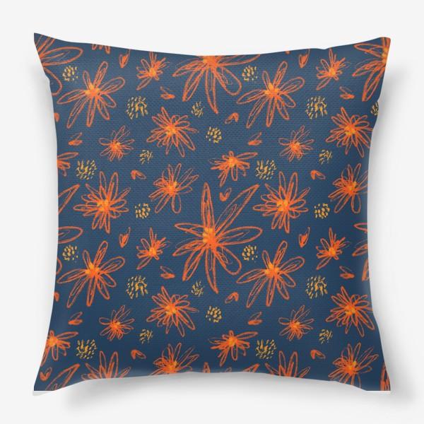 Подушка «оранжевые цветы»