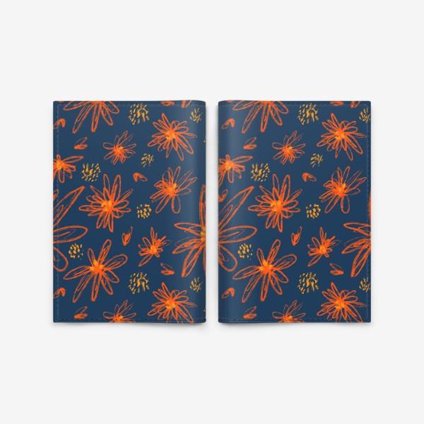 Обложка для паспорта «оранжевые цветы»