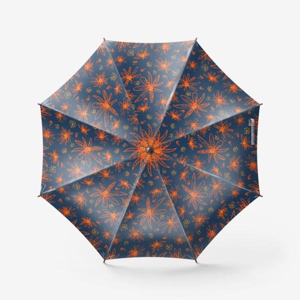 Зонт «оранжевые цветы»