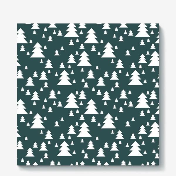 Холст «Зимний хвойный лес»