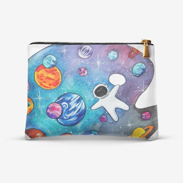 Косметичка «Космос День Космонавтики Планеты Звезды Космонавт»