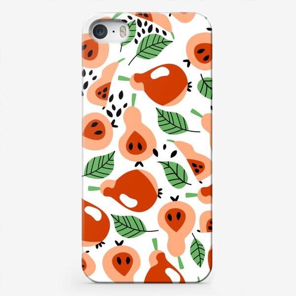 Чехол iPhone «Вкусные груши яркий паттерн»