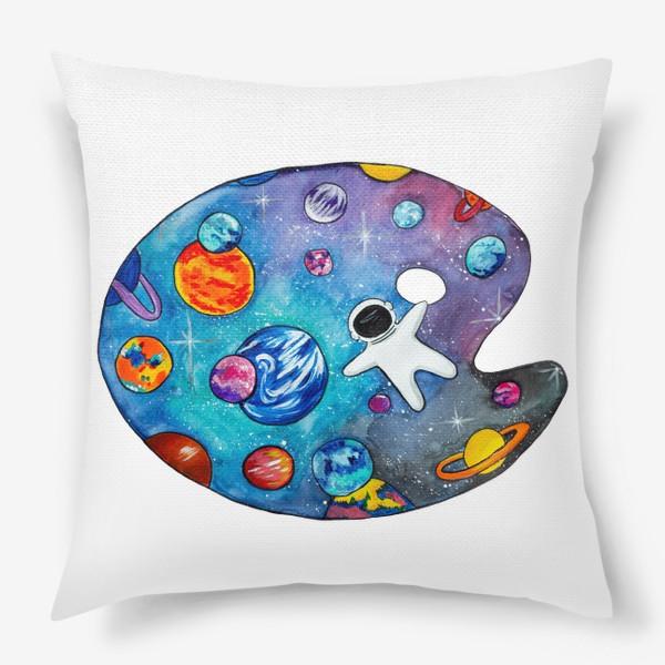 Подушка «Космос День Космонавтики Планеты Звезды Космонавт»