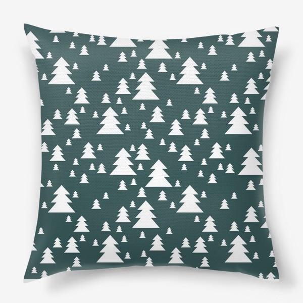 Подушка «Зимний хвойный лес»