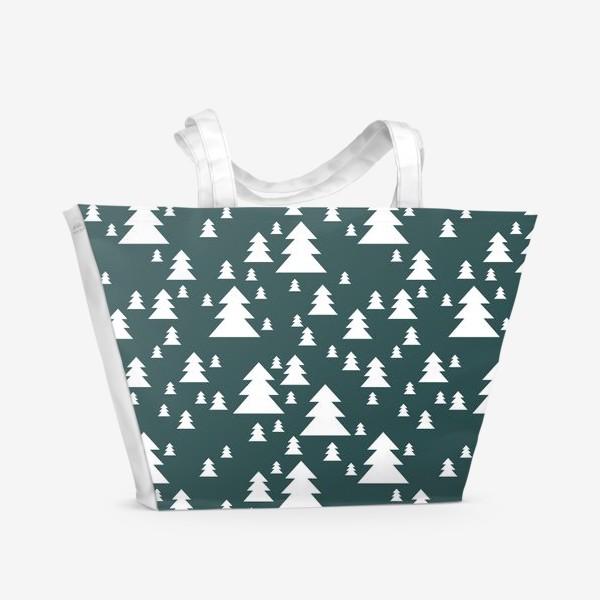 Пляжная сумка «Зимний хвойный лес»