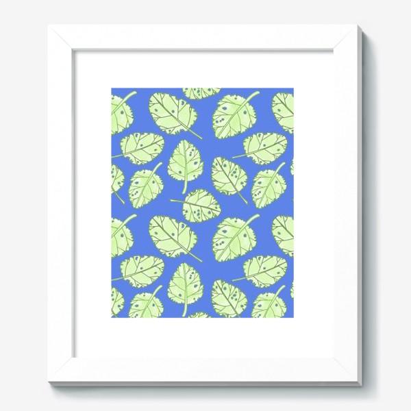 Картина «Зеленые листики на синем фоне»