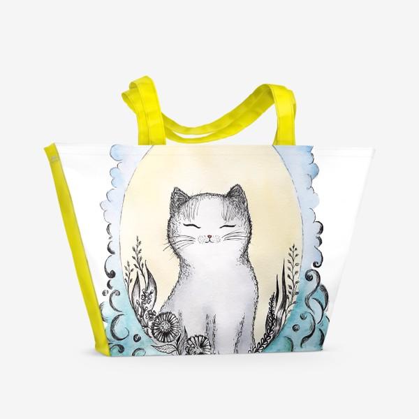 Пляжная сумка «Котик на солнышке.»