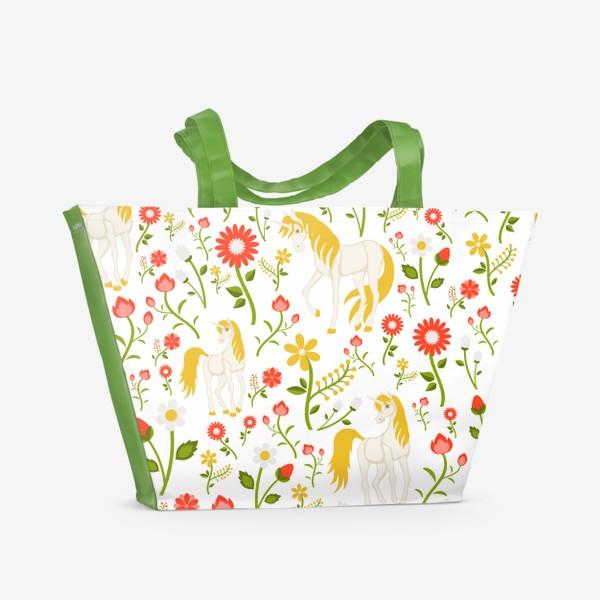 Пляжная сумка «Летний узор с единорогами»