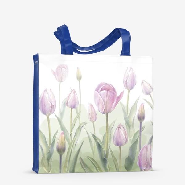 Сумка-шоппер «Светло-сиреневые тюльпаны Букет 3 КУПОН»