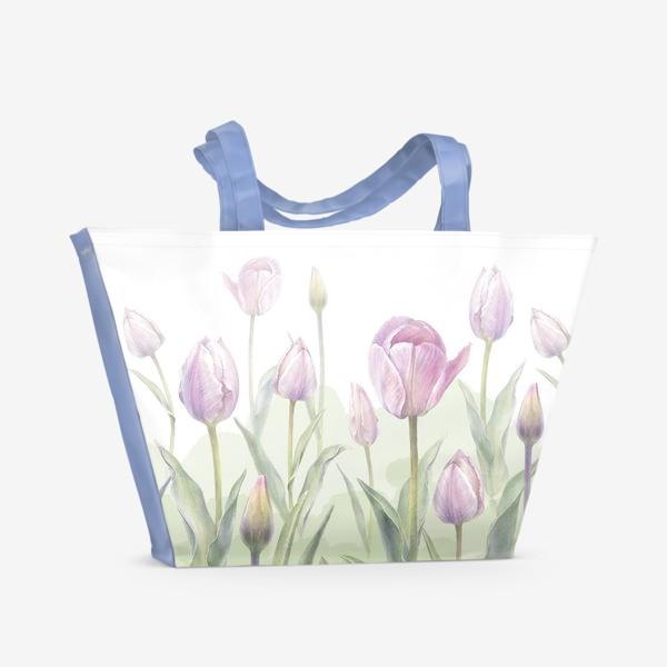 Пляжная сумка «Светло-сиреневые тюльпаны Букет 3 КУПОН»