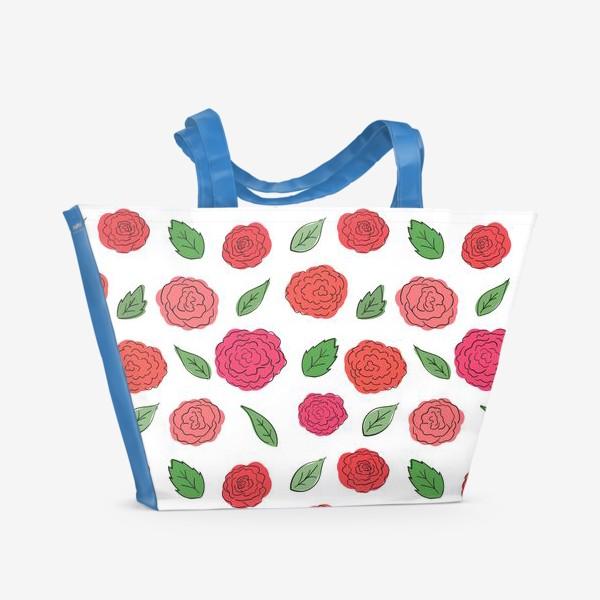 Пляжная сумка «Паттерн из розовых дудл цветов с листиками.»