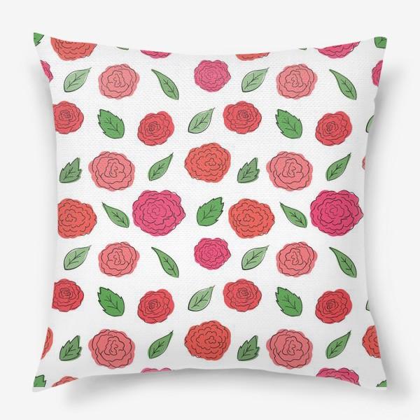 Подушка «Паттерн из розовых дудл цветов с листиками.»