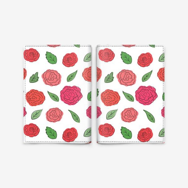 Обложка для паспорта «Паттерн из розовых дудл цветов с листиками.»
