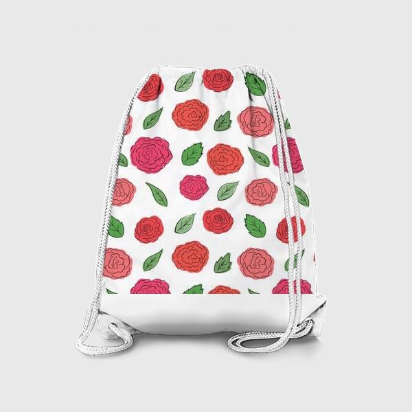 Рюкзак «Паттерн из розовых дудл цветов с листиками.»