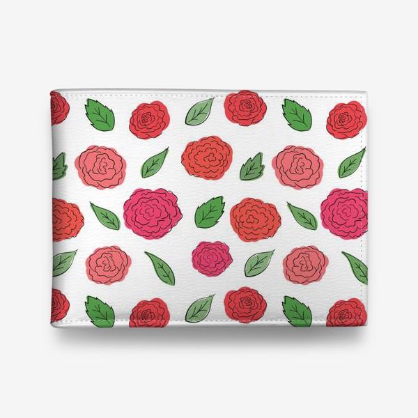 Кошелек «Паттерн из розовых дудл цветов с листиками.»
