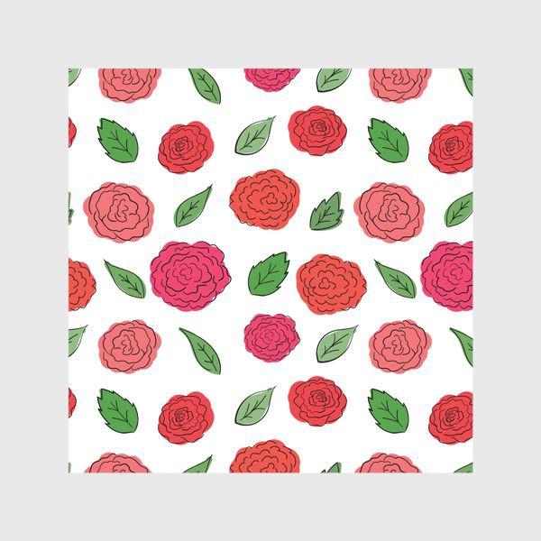 Шторы «Паттерн из розовых дудл цветов с листиками.»