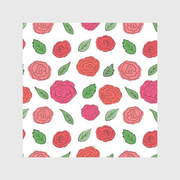 Скатерть «Паттерн из розовых дудл цветов с листиками.»