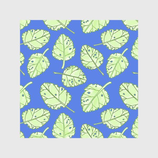 Шторы «Зеленые листики на синем фоне»