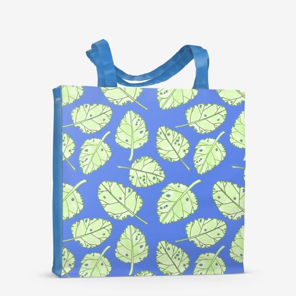 Сумка-шоппер «Зеленые листики на синем фоне»