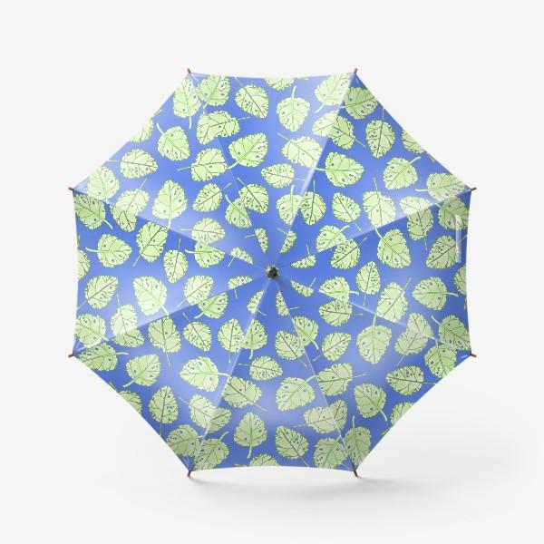 Зонт «Зеленые листики на синем фоне»
