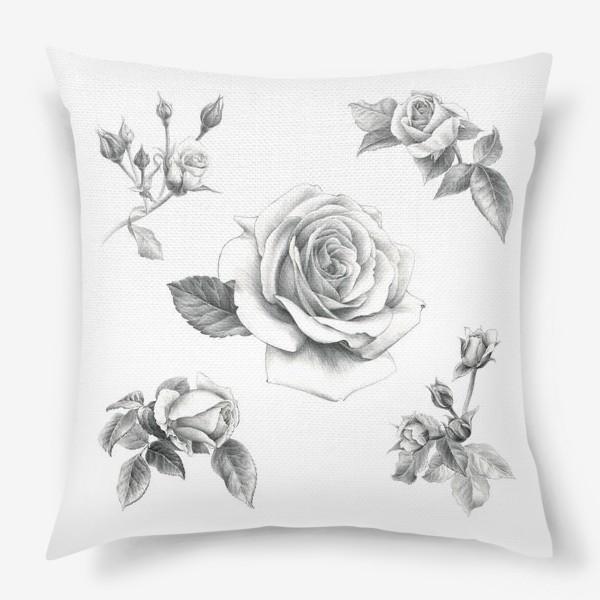 Подушка «Винтажные розы на белом фоне ПОСТЕР»