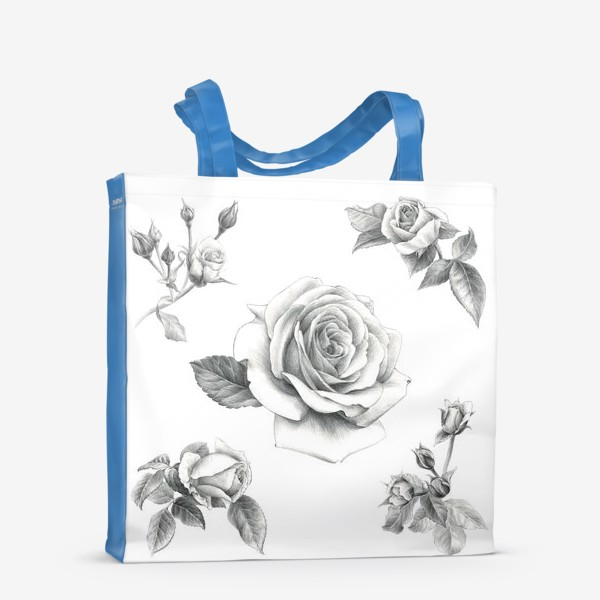 Сумка-шоппер «Винтажные розы на белом фоне ПОСТЕР»