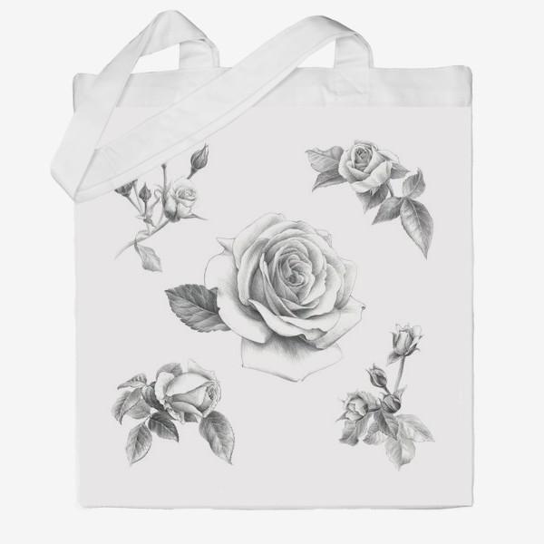 Сумка хб «Винтажные розы на белом фоне ПОСТЕР»