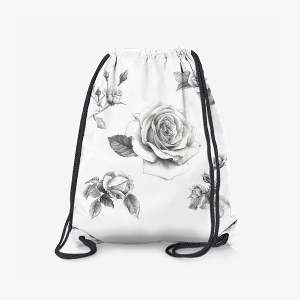 Рюкзак «Винтажные розы на белом фоне ПОСТЕР»