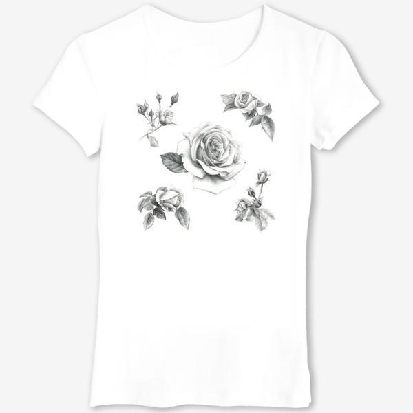 Футболка «Винтажные розы на белом фоне ПОСТЕР»