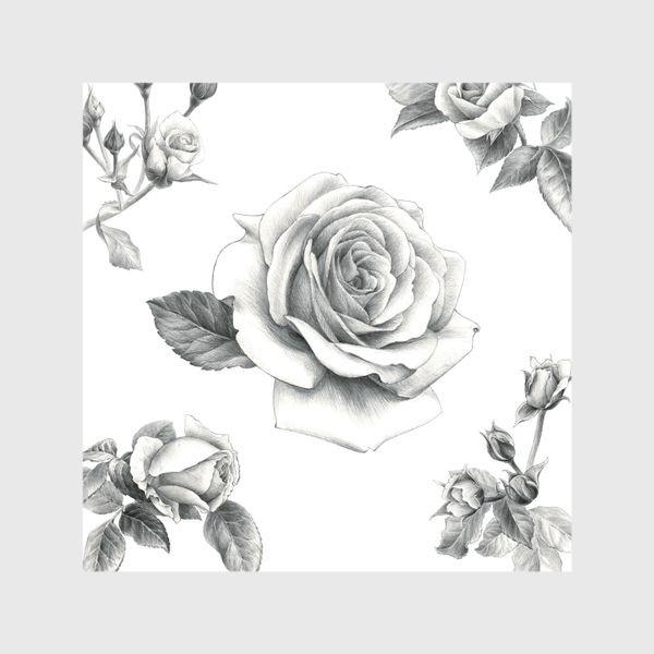 Шторы «Винтажные розы на белом фоне ПОСТЕР»
