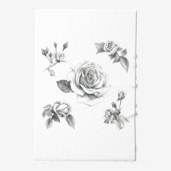 Полотенце «Винтажные розы на белом фоне ПОСТЕР»