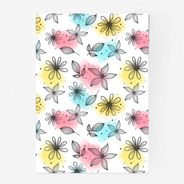 Постер «Цветы с мазками краски»