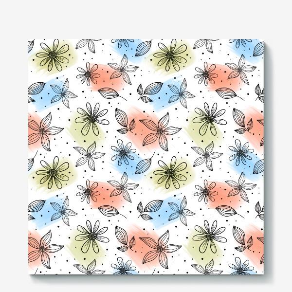 Холст «Цветы с мазками краски 2»