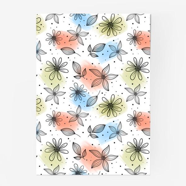 Постер «Цветы с мазками краски 2»