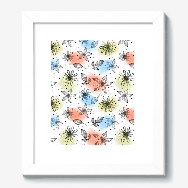 Картина «Цветы с мазками краски 2»