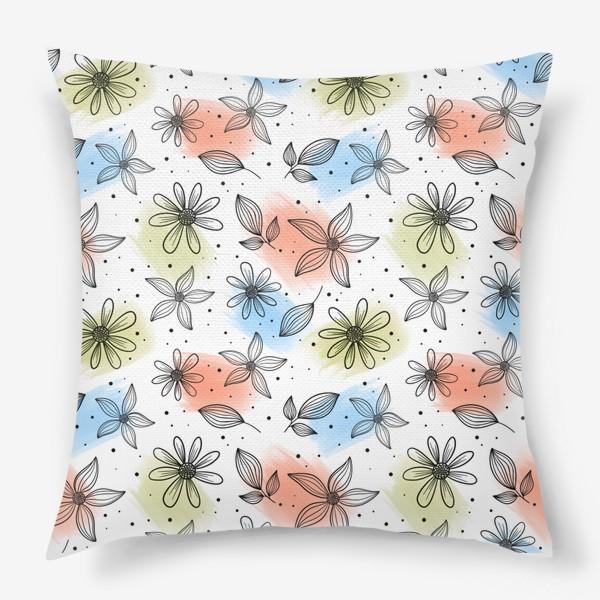 Подушка «Цветы с мазками краски 2»