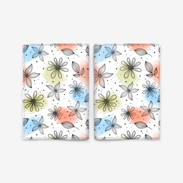 Обложка для паспорта «Цветы с мазками краски 2»