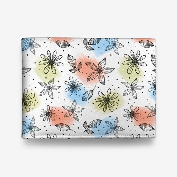 Кошелек «Цветы с мазками краски 2»