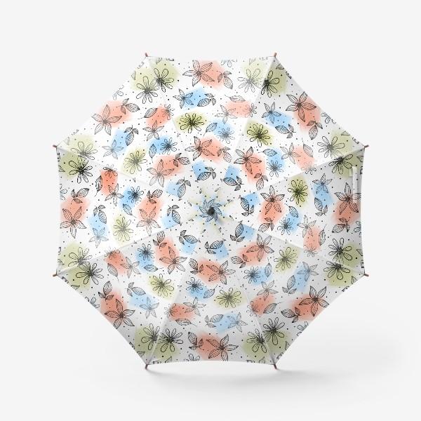 Зонт «Цветы с мазками краски 2»