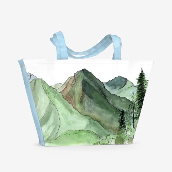 Пляжная сумка «Горы. Акварельный скетч. Сочи.»
