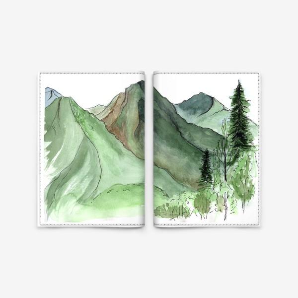 Обложка для паспорта «Горы. Акварельный скетч. Сочи.»