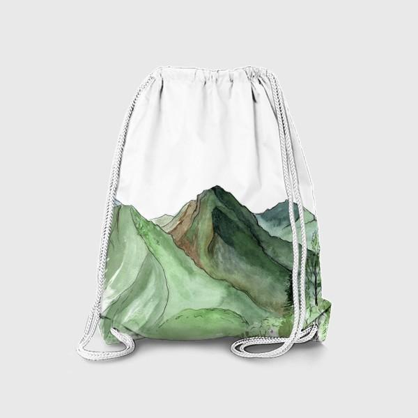 Рюкзак «Горы. Акварельный скетч. Сочи.»